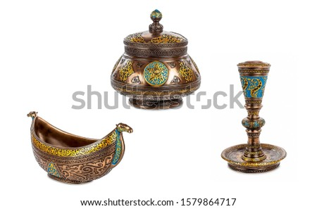 Dishes of Ancient East isolated on white. Goblet, piala bowl, jar. Oriental utensils. Oriental utensils isolated on white