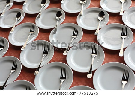 Dishes preparing for coffee break