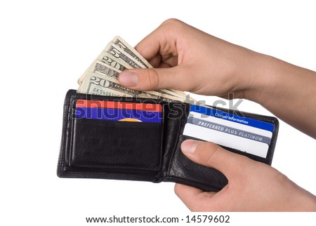 Dishing out cash from a leather wallet to pay bills.