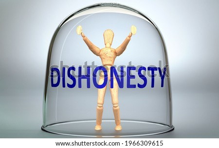 Dishonesty can separate a person from the world and lock in an isolation that limits - pictured as a human figure locked inside a glass with a phrase Dishonesty, 3d illustration Photo stock ©