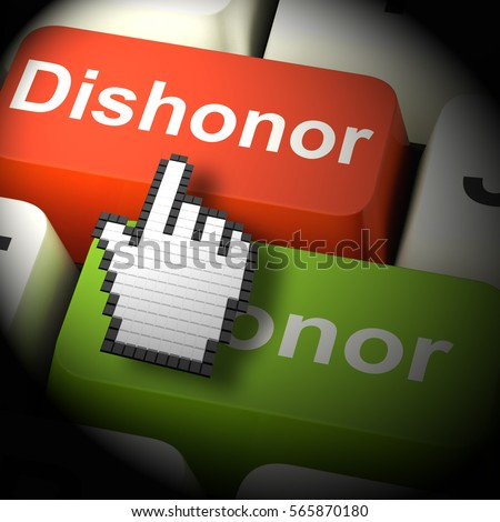 Dishonor Honor Computer Showing Integrity And Morals 3d Rendering