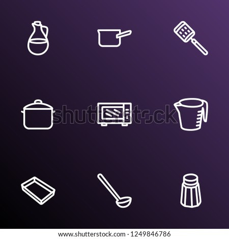 Dishware icons line style set with casserole, microwave, measuring cup and other cake tray elements. Isolated  illustration dishware icons.