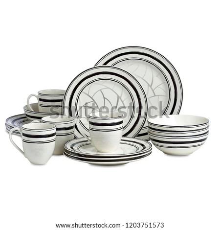 Dishware set. ceramic cookware set isolated on white background