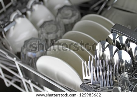 Dishwasher after cleaning process