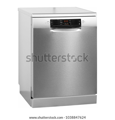 Dishwasher Isolated on White Background. Side View of Modern Freestanding Stainless Steel Dishwasher Machine. Domestic Appliances. Kitchen Appliances. Household Appliances. Clipping Path #1038847624