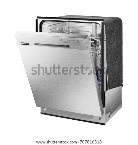 Shutterstock Dishwasher Machine Isolated on White Background. Built-In Dishwasher.