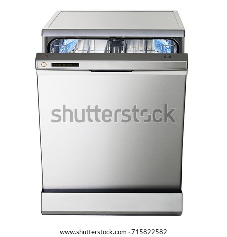 Dishwasher Machine Isolated on White Background. Front View of Modern Freestanding Stainless Steel Dishwasher Range. Home Appliances. Domestic Appliances. Kitchen Appliances. Clipping Path #715822582