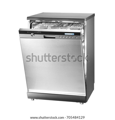 Dishwasher Machine Isolated on White Background. Modern Freestanding Stainless Steel Dishwasher Range. Domestic Appliances. Kitchen Appliances. Home Appliances. Clipping Path #705484129