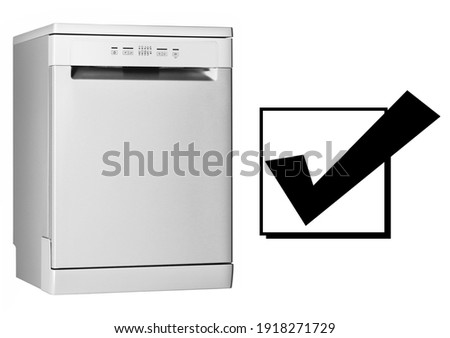 Dishwasher Machine Isolated on White Background. Side View of Modern Freestanding Stainless Steel Dishwasher Range. Major Domestic Appliances. Kitchen Appliances. Household Appliances