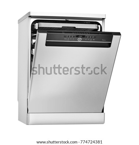 Dishwasher Machine Isolated on White Background. Side View of Modern Freestanding Stainless Steel Open Dishwasher Range. Domestic Appliances. Kitchen Appliances. Home Appliances. Clipping Path #774724381