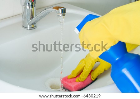 Disinfection and sanitary clearing of a sink