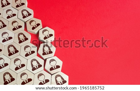Disintegration of an organized group of people. Integrity violation, company disbandment. Personnel staff restructuring management. Association breakup, layoffs downsizing. Closing fund organization. Stockfoto ©