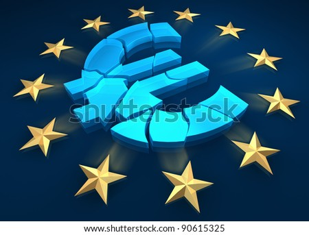 Disintegration of the euro zone. Gold stars are fleeing from the euro symbol. 3d render