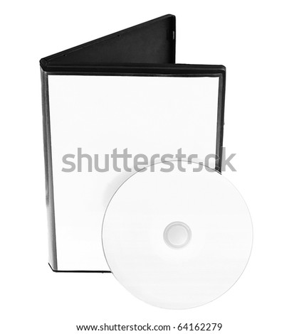 Disk and white DVD box isolated on white background