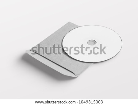 Disk and white folder mockup with white background
