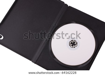 Disk in DVD box isolated on white background