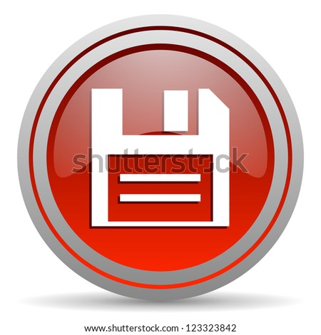 disk red glossy icon on white background