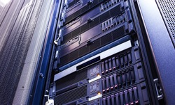 disk storage blades in the mainframe server room