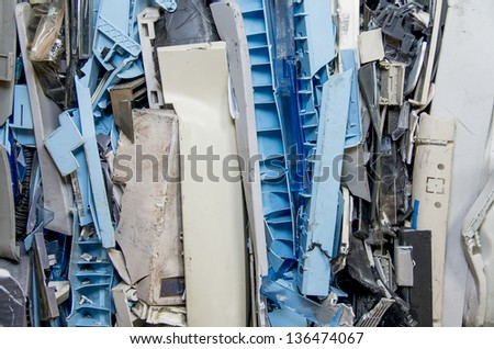 dismantled pastic computer parts for electronic recycling