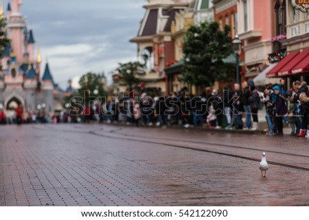 DISNEYLAND, PARIS - NOVEMBER 22, 2016: Disneyland Park in Disneyland Paris, France. Disneyland Paris is a tourist and urban complex.