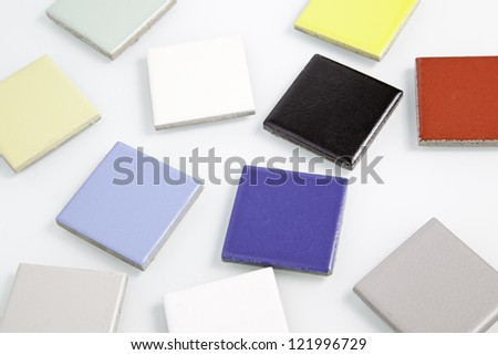 Disordered colored squares, colored tiles detail, background