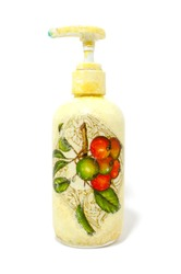 Dispenser for liquid soap with decoupage