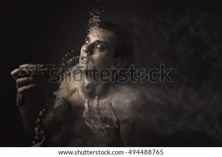 Dispersing agony, young man de-materializing in his agony, horror halloween concept