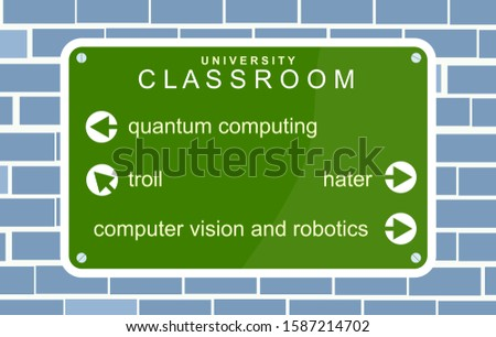 Display. Graphic, signs collectively. Classrooms. Directional wayfinding signage for Colleges and Universities. University. Illustration with ironic reference to study rooms of troll and haters.