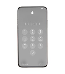 Display Keypad with locked for mobile phone. Swipe up for face ID or enter Passcode.Keypad for template in touchscreen device. mockup phone Isolated on white background