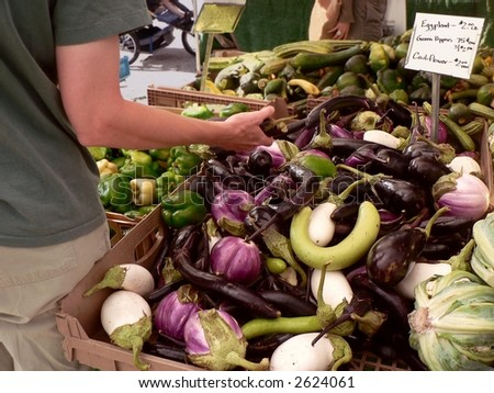 Display of eggplant at farmers' market.