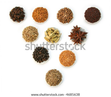 Display of group of spices - stock photo