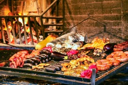 Display of meats in Port Market, Montevideo, Uruguay. It is the most popular place for parillas (barbeque) in the city.