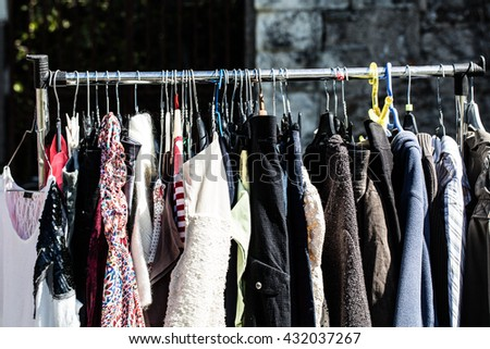Free photos Rack of old fashioned women's clothes on display