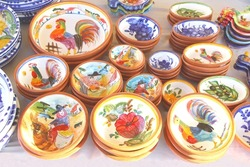 Display of Portuguese ceramic pottery, flea market Mercado da Ribeira, Lisbon, made in Portugal