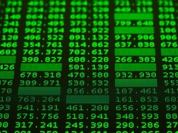 Display of Stock market green quotes for technical analysis on black background. Trading concept