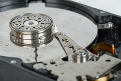 display of the disc in hard drive from the inside visible components