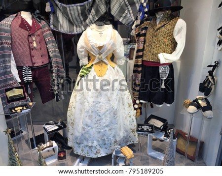 Display of traditional Valencian costumes  #795189205