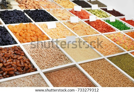 Display with different foodstuff at market