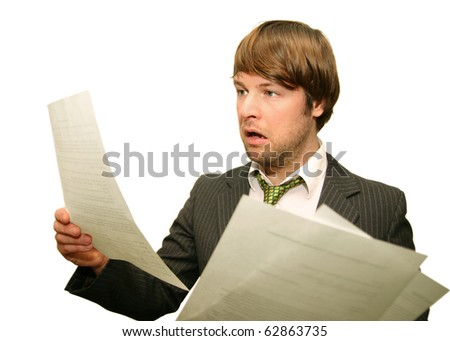 displeased - office worker frustrated checking financial statements isolated on white background