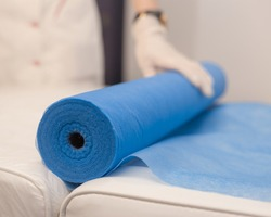 Disposable Beauty Bed Cover. Blue Massage Table Cover Roll. Blue reusable Bed sheet roll.Non Woven Bed Sheet.