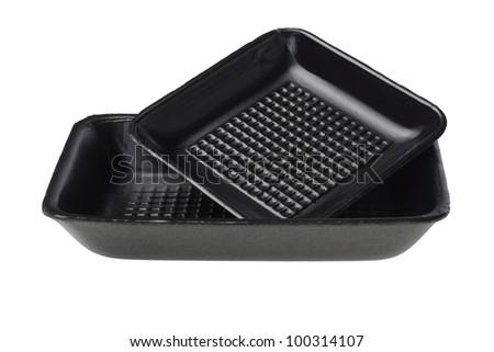Disposable Black Styrofoam Food Trays on White Background