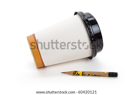 Disposable Coffee Cup and pencil, concept of ideas,  Inspiration - stock photo