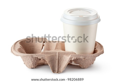 Disposable coffee cup in cardboard holder. Isolated on a white.