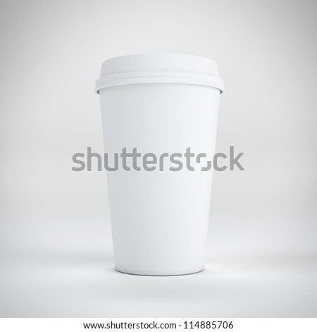 disposable coffee cup on white backgroud