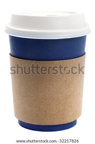 disposable coffee tea cup blue with white lid and brown termo holder, isolated on white