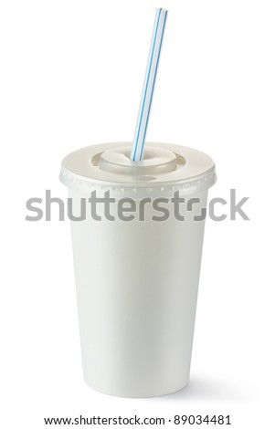 Disposable cup of middle volume for beverages with straw. Isolated on a white.