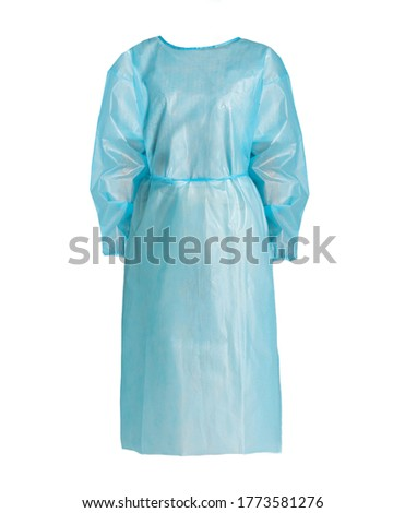 disposable isolation gown surgical gown for surgery protection pe surgical gown light blue Foto stock ©