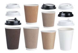 Disposable paper coffee cup isolated on white background with clipping path. Collection