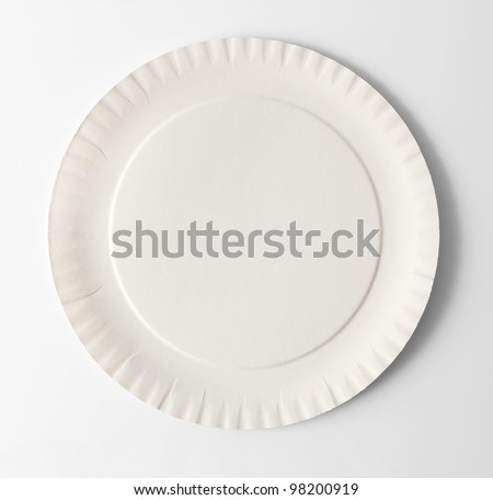 Disposable Paper Plate. Isolated with clipping path.