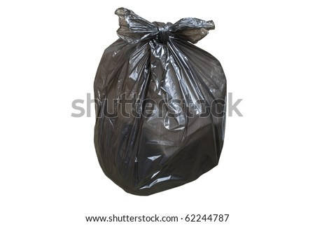 Disposable plastic bag full of garbage isolated over white background